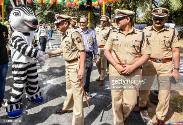 Mumbai Traffic Police guides kids during awareness on Road Safety at Traffic Park Near Cooperage Maidan Cuffe Parade on February 7 2019 in Mumbai...