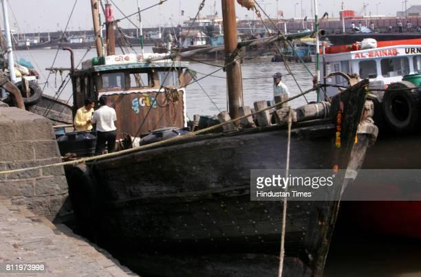Mumbai under Terror attack Boat MV Kuber boat used in Mumbai terror attack at Malet Bunder near Ferry Wharf in Mumbai on Monday