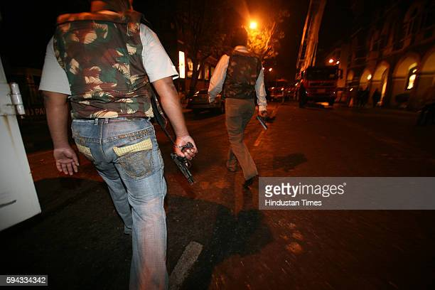26/11 Mumbai Under Terror Attack Firing at Taj Hotel ATS Squad member outside Taj Hotel