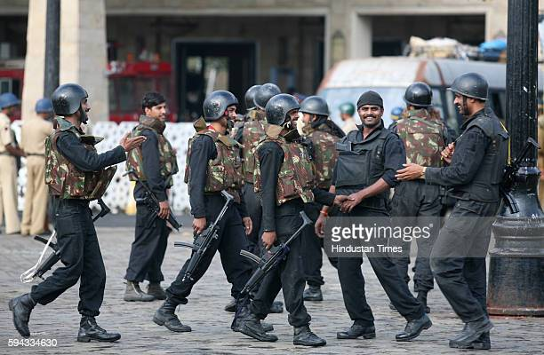 Mumbai under Terror attack NSG National Security Guard Commandos congratulate after a successful operation at the Taj Mahal Hotel