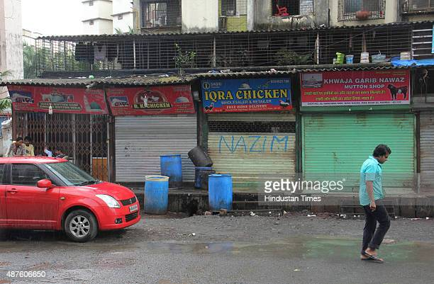 Mumbai's mutton traders shut down the shops as fourday meat ban began due to Jain holy festival of Paryushan on September 10 2015 in Mumbai India...