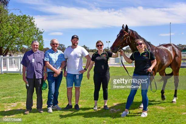 Mumbles and Daniel Bowman with owners after winning the Stawell Grampians Gate Caravan Park Maiden Plate at Stawell Racecourse on October 22 2018 in...
