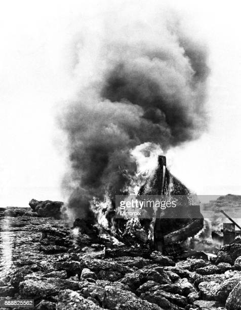 Mumbles lifeboat, Edward Prince of Wales, destroyed by fire at Sker beach, near Porthcawl, after being lost in attempt to rescue the crew of the SS...