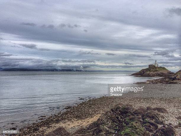 mumbles lighthouse, wales, uk - mumbles stock photos and pictures