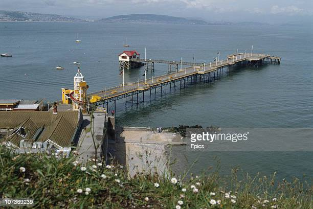Mumbles pier and lifeboat station in Swansea Bay Swansea Wales circa 1985