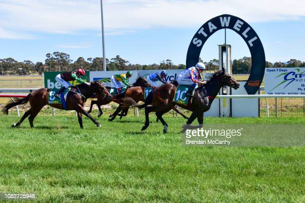 Mumbles ridden by Declan Bates wins the Stawell Grampians Gate Caravan Park Maiden Plate at Stawell Racecourse on October 22 2018 in Stawell Australia