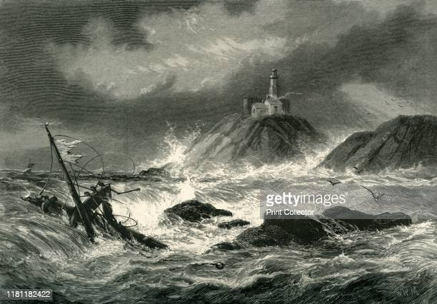Mumbles Rocks and Lighthouse near Swansea' circa 1870 Mumbles Lighthouse on a headland of Swansea Bay in Wales was built in the 1790s From...