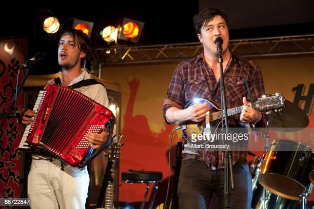 Mumford and Sons performs live on the Hard Rock Calling Sessions stage in Hard Rock VIP Backstage Area on day 2 of Hard Rock Calling in Hyde Park on...