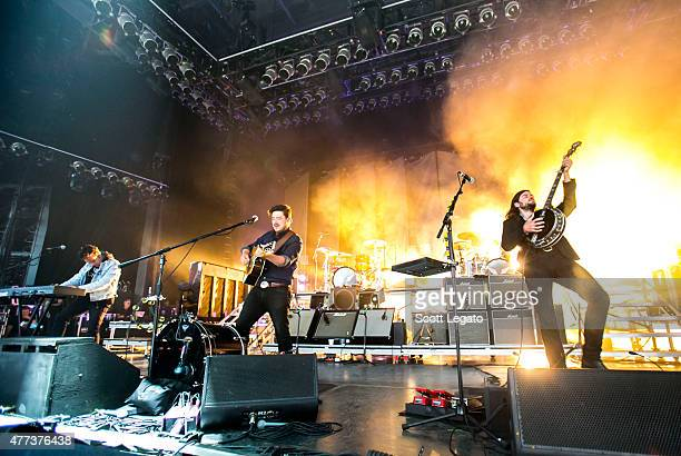 Mumford Sons perform during their Gentlemen on the Road Tour at DTE Energy Music Theater on June 16 2015 in Clarkston Michigan