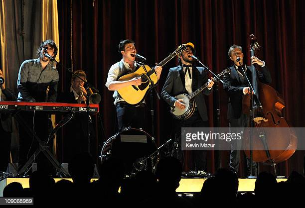 Mumford Sons perform onstage during The 53rd Annual GRAMMY Awards held at Staples Center on February 13 2011 in Los Angeles California
