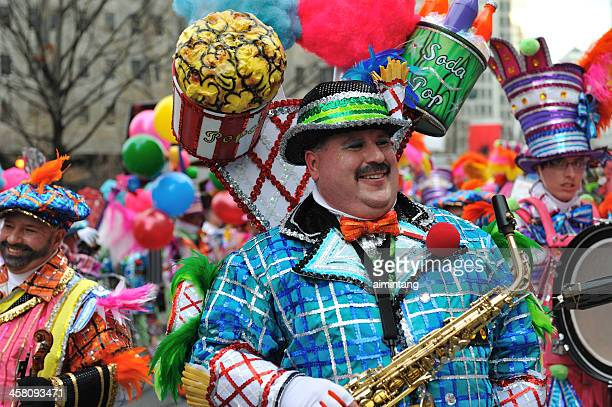 mummer's parade in philadelphia - mummers parade stock photos and pictures