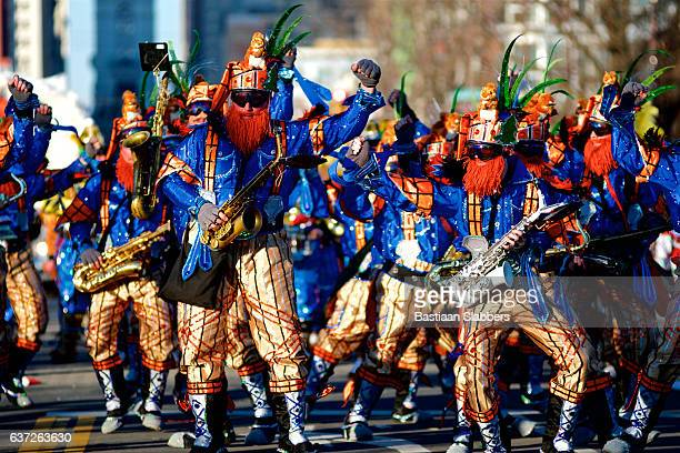 mummer's parade rings in new year in philadelphia, pa - mummers parade stock photos and pictures