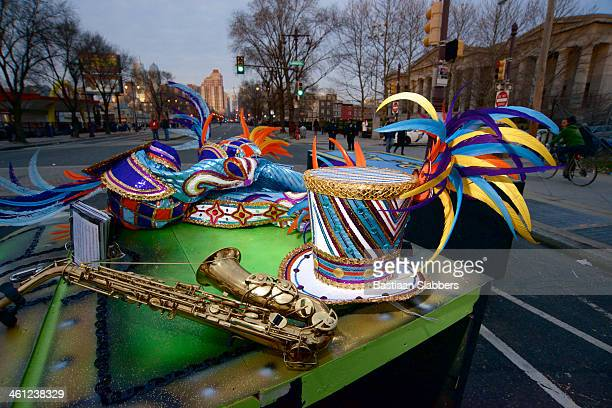 mummers parade takes streets of philadelphia on new years day - mummers parade stock photos and pictures