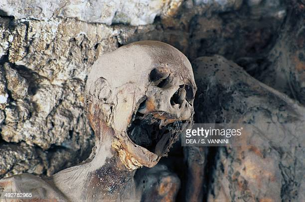 Mummified bodies discovered in the crypt of the Church of St Stephen Ferentillo Umbria Italy