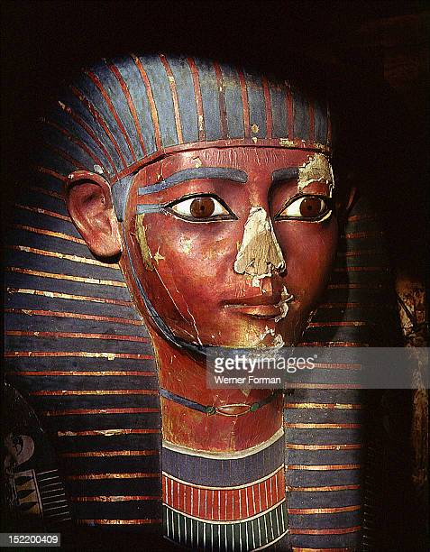 Mummiform inner coffin of general Sep Unusually the mummy head is not wrapped and is not the portrait of the general Instead it takes the attributes...