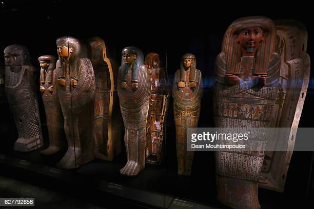 Mummy coffins on display in part in the permanent Egyptian collection and also part of the 'Queens of the Nile' Exhibition held at the National...