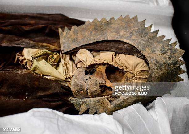 A mummy is pictured at the Osteoteca of the Anthropology National Museum in Mexico City on March 9 2018 The MNA houses one of the most important...