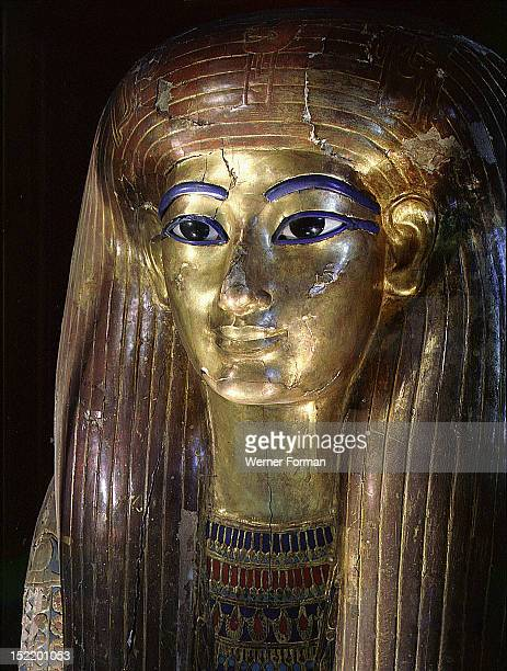 Mummy mask of Tuya mother of Queen Tiye and grandmother of Akhenaten Tuya was buried with her husband Yuya at Thebes Egypt Ancient Egyptian 18th...