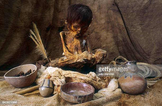 A mummy of a child from the Nazca civilization photographed at the Julio C Tello museum in Paracas National Park Peru