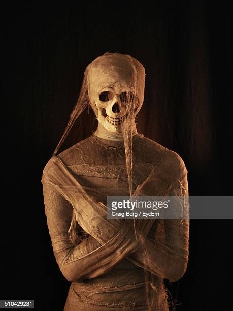mummy with skull over black background - mummy stock photos and pictures