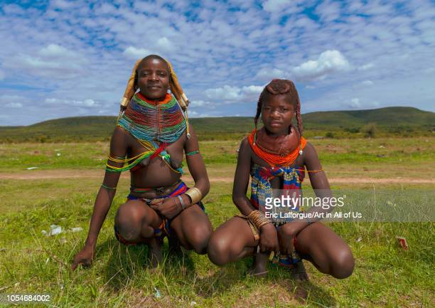 Mumuhuila tribe mother with her teenage daughter Huila Province Chibia Angola on December 3 2010 in Chibia Angola