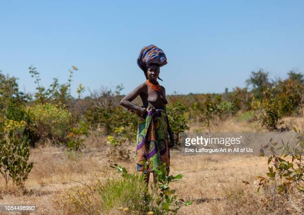 Mumuhuila tribe woman in the bush carrying bag on her head, Huila Province, Chibia, Angola on August 10, 2010 in Chibia, Angola.