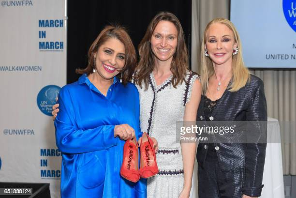 Muna Rihani AlNasser Anne De Carbuccia and Barbara Winston attend The United Nations Women for Peace Association's Annual Awards Luncheon on March 10...