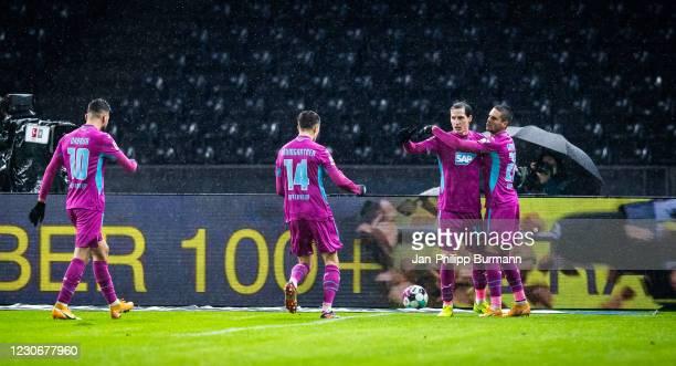 Munas Dabbur, Christoph Baumgartner, Sebastian Rudy and Mijat Gacinovic of the TSG 1899 Hoffenheim celebrate after scoring the 0:1 during the...