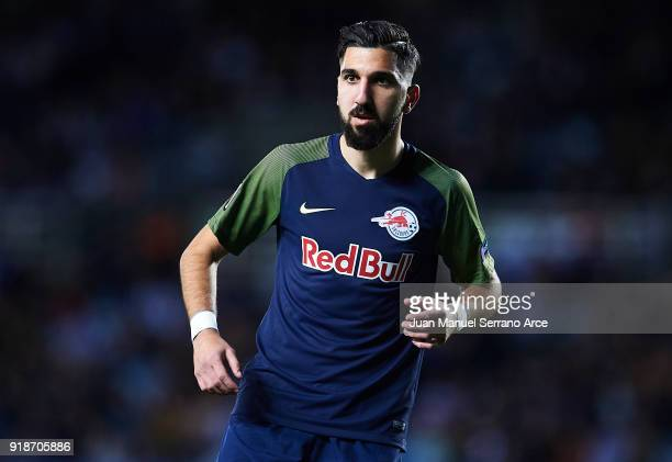 Munas Dabbur of FC Red Bull Salzburg looks on during UEFA Europa League Round of 32 match between Real Sociedad and FC Red Bull Salzburg at the...