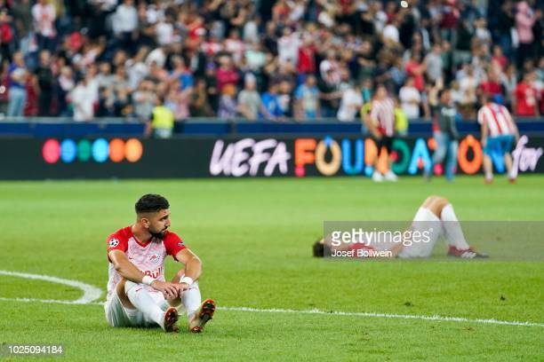Munas Dabbur of FC Salzburg looks dejected after the UEFA Champions League match between FC Salzburg v Red Star Belgrade at Red Bull Arena on August...