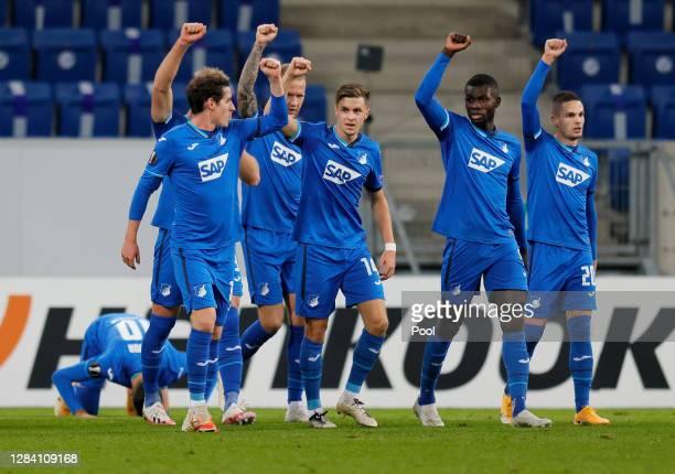 Munas Dabbur of Hoffenheim celebrates after scoring his team's first goal during the UEFA Europa League Group L stage match between TSG Hoffenheim...