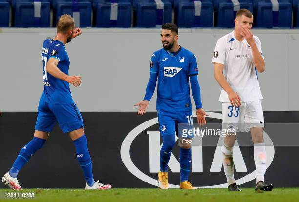 Munas Dabbur of Hoffenheim celebrates with teammates after scoring his team's second goal during the UEFA Europa League Group L stage match between...