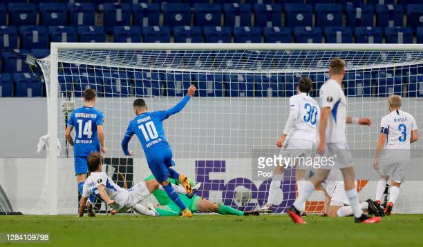 Munas Dabbur of Hoffenheim scores his team's first during the UEFA Europa League Group L stage match between TSG Hoffenheim and FC Slovan Liberec at...