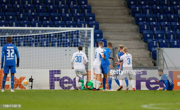 Munas Dabbur of Hoffenheim scores his team's second goal during the UEFA Europa League Group L stage match between TSG Hoffenheim and FC Slovan...