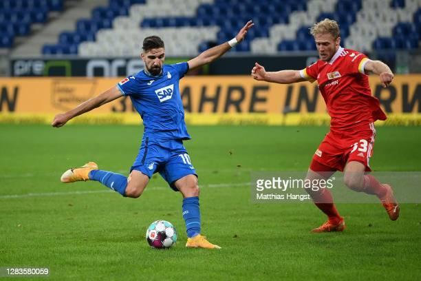 Munas Dabbur of Hoffenheim scores the first team goal during the Bundesliga match between TSG Hoffenheim and 1. FC Union Berlin at PreZero-Arena on...