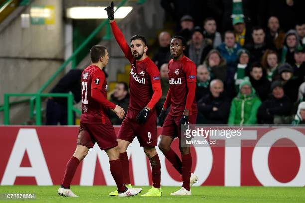 Munas Dabbur of RB Salzburg celebrates after scoring his team's second goal of the game during the UEFA Europa League Group B match between Celtic...