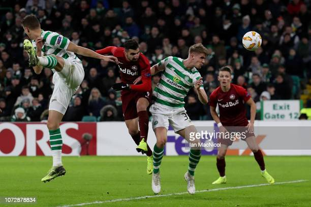 Munas Dabbur of RB Salzburg scores his team's second goal of the game during the UEFA Europa League Group B match between Celtic and RB Salzburg at...