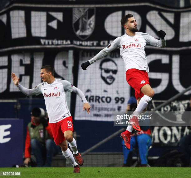 Munas Dabbur of Red Bull Salzburg celebrates after scoring the first goal during the UEFA Europa League group I match between FC Salzburg and Vitoria...