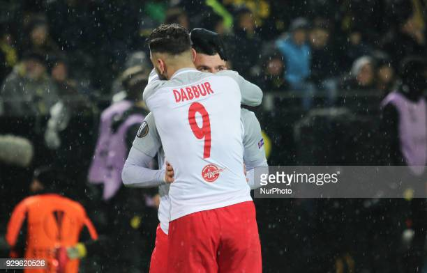 Munas Dabbur of Red Bull Salzburg celebrates during the UEFA Europa League Round of 16 match between Borussia Dortmund and FC Red Bull Salzburg at...