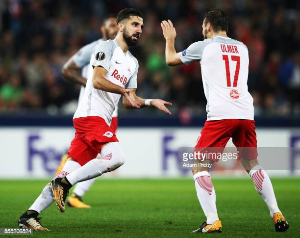 Munas Dabbur of Red Bull Salzburg celebrates scoring a goal during the UEFA Europa League group I match between RB Salzburg and Olympique Marseille...
