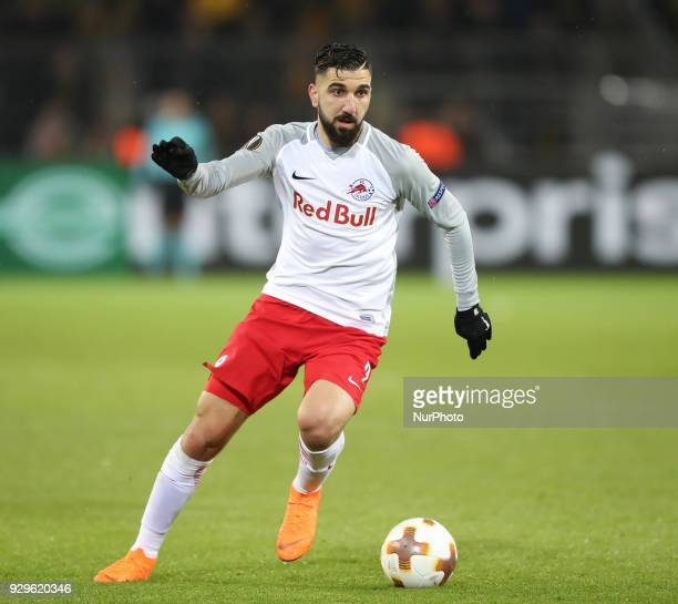 Munas Dabbur of Red Bull Salzburg in action during the UEFA Europa League Round of 16 match between Borussia Dortmund and FC Red Bull Salzburg at the...