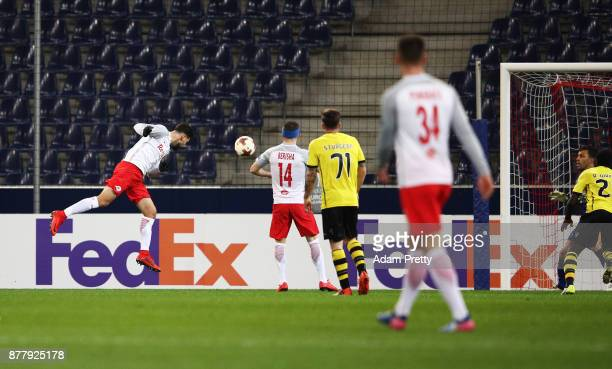 Munas Dabbur of Red Bull Salzburg scores the first goal during the UEFA Europa League group I match between FC Salzburg and Vitoria Guimaraes at Red...