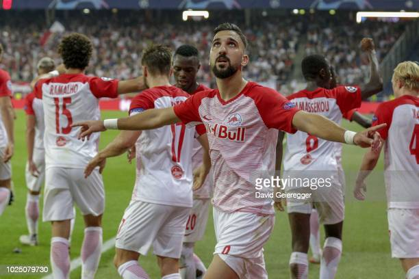 Munas Dabbur of Salzburg celebrates after scoring the opening goal during the UEFA Champions League match between FC Salzburg and Red Star Belgrade...