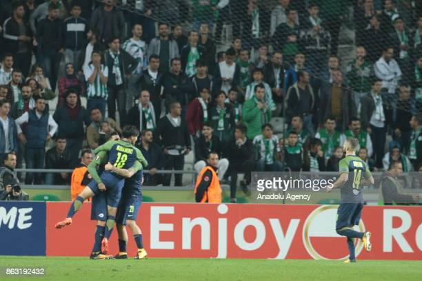 Munas Dabbur of Salzburg celebrates with his teammates after scoring during the UEFA Europa League Group I soccer match between Atiker Konyaspor and...