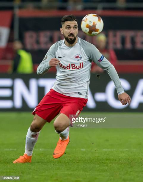Munas Dabbur of Salzburg controls the ball during UEFA Europa League Round of 16 second leg match between FC Red Bull Salzburg and Borussia Dortmund...