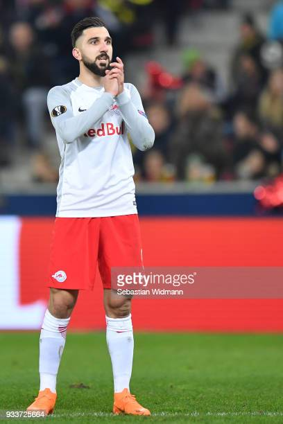 Munas Dabbur of Salzburg gestures during the UEFA Europa League Round of 16 2nd leg match between FC Red Bull Salzburg and Borussia Dortmund at the...