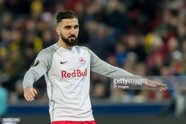 Munas Dabbur of Salzburg gestures during UEFA Europa League Round of 16 second leg match between FC Red Bull Salzburg and Borussia Dortmund at the...