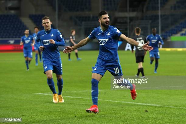 Munas Dabbur of TSG 1899 Hoffenheim celebrates after scoring his team's third goal during the Bundesliga match between TSG Hoffenheim and SV Werder...