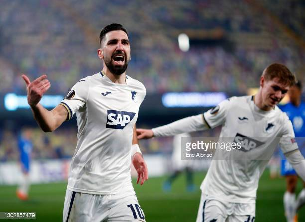 Munas Dabbur of TSG 1899 Hoffenheim celebrates after scoring their sides second goal during the UEFA Europa League Round of 32 match between Molde FK...