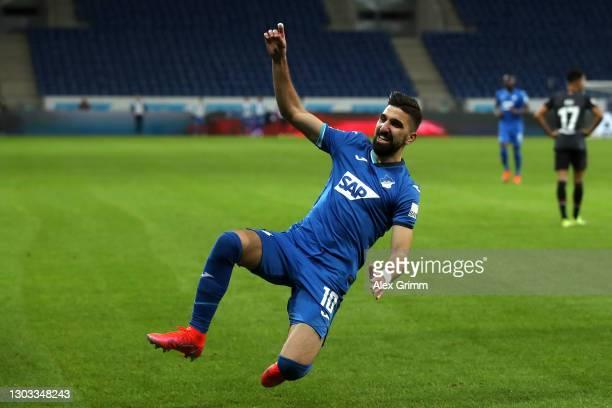 Munas Dabbur of TSG 1899 Hoffenheim celebrates after scoring their side's third goal during the Bundesliga match between TSG Hoffenheim and SV Werder...